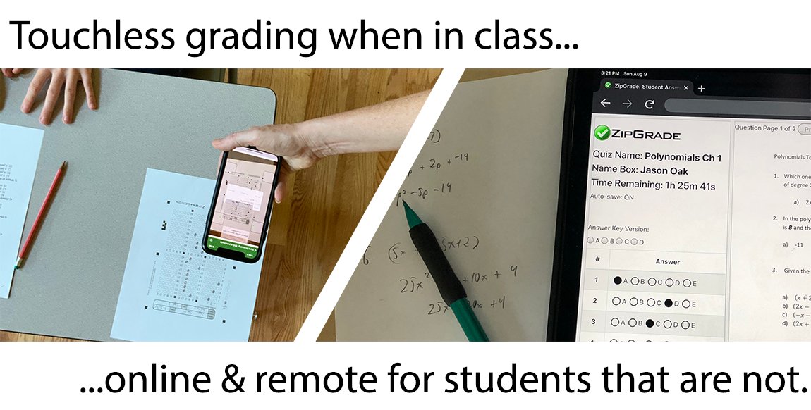 in-person scanning and online remote grading